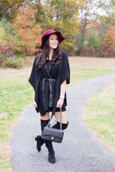 black poncho half sleeve poncho sweater cardigan with mini dress