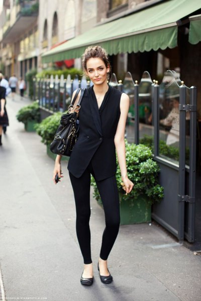 black wrap vest with leggings and ballet flats