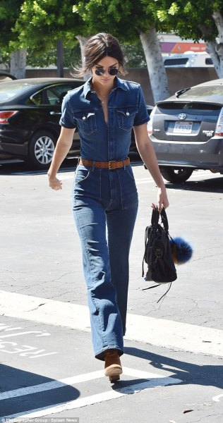 blue chambray button up shirt with high waisted bell bottom jeans