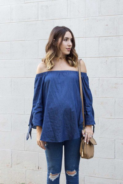blue chambray off the shoulder blouse with ripped maternity jeans