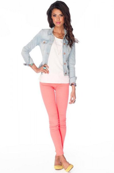 blue denim fitted jacket with pink jeans