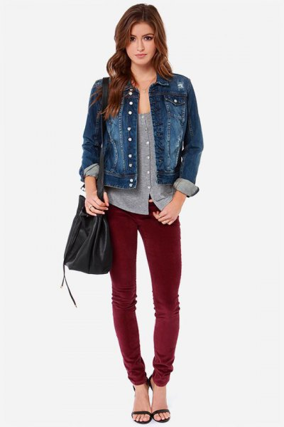 blue denim jacket with grey scoop neck button up shirt
