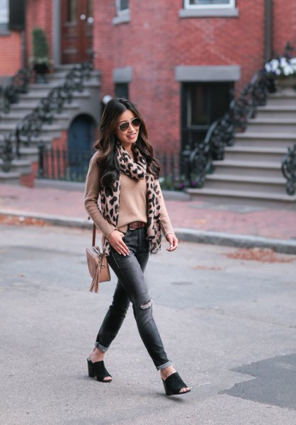 blush pink fitted sweater with leopard print scarf