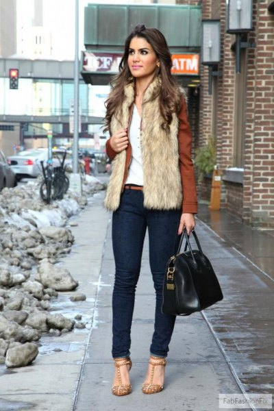 brown blazer with dark blue skinny jeans and sequin heels