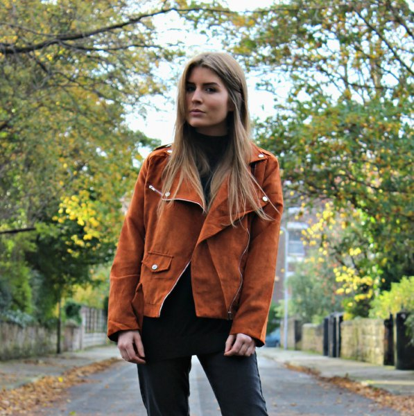 brown suede blazer with black leather jacket