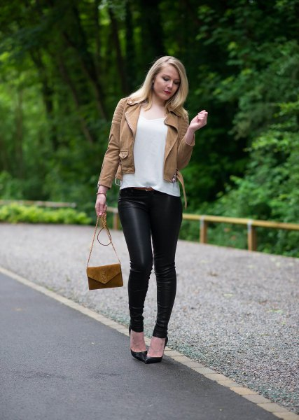 brown suede moto jacket with black leather leggings