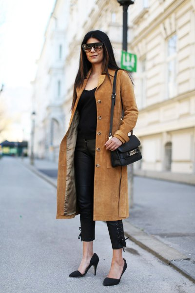 camel midi length suede coat with all black outfit