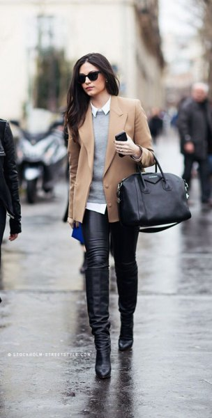 camel short blazer coat with grey sweater and leather leggings