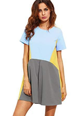 color block rainbow color short sleeve summer tunic dress