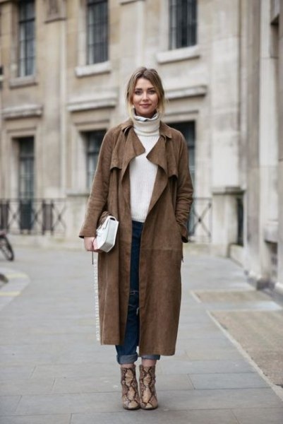 dark grey maxi suede coat with white turtleneck sweater