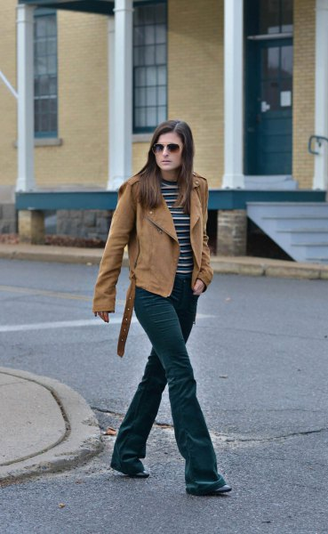 flared velvet jeans with brown suede moto jacket