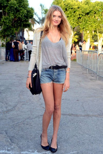 grey and white scoop neck vest top with cardigan and denim mini shorts