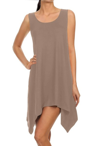 grey chiffon sleeveless high low mini tunic dress