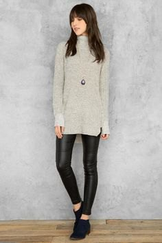 grey mock neck tunic sweater with black leather leggings