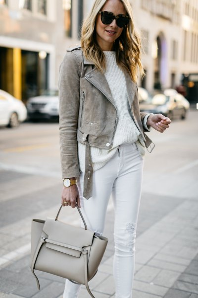 grey suede blazer with white ribbed relaxed fit sweater