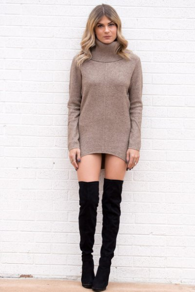 grey turtleneck tunic with black thigh high boots
