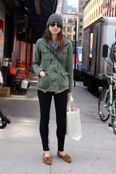 grey utility jacket with back ankle skinny jeans and loafers