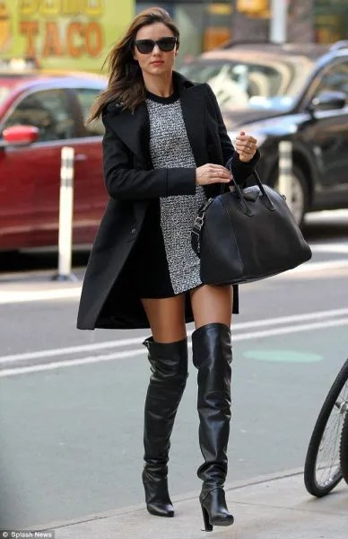 heather grey mini shift dress with black long wool coat and leather high heel boots