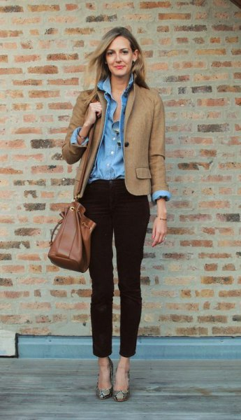 light brown blazer with blue chambray button up shirt and ankle corduroy jeans