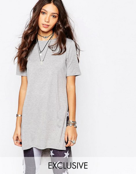 light grey tunic tee with american flag printed leggings