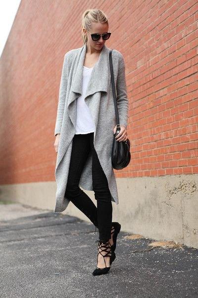 longline grey cashmere cardigan with black skinny jeans
