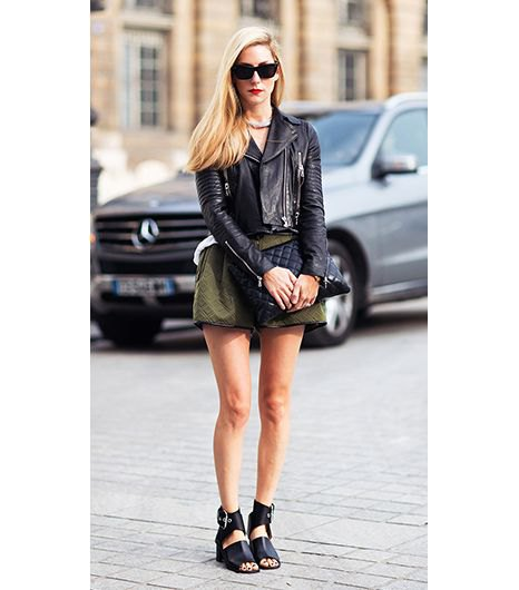 moto jacket with olive green linen flowy shorts