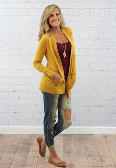 mustard yellow casual cardigan with grey scoop neck tank top