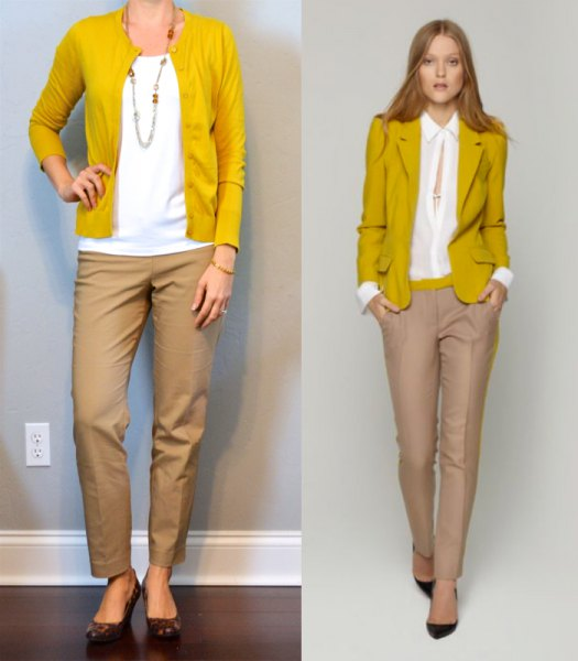 mustard yellow sweater cardigan with white blouse and beige chinos