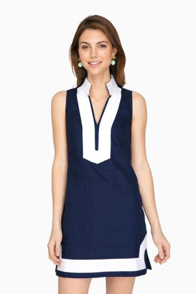 navy blue and white mock neck tunic dress