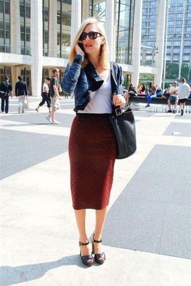 navy blue short blazer with burgundy high waisted midi skirt