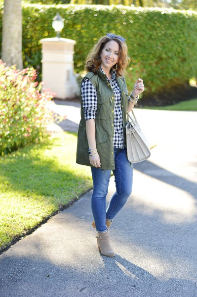 olive green utility vest with black and white checker boyfriend shirt