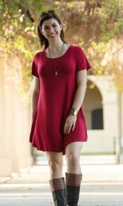 red short sleeve tunic dress with grey knee high boots