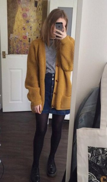 ribbed dark mustard sweater jacket with blue denim button front skirt
