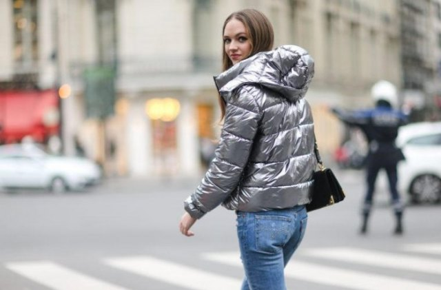 silver metallic down bubble jacket with casual light blue jeans