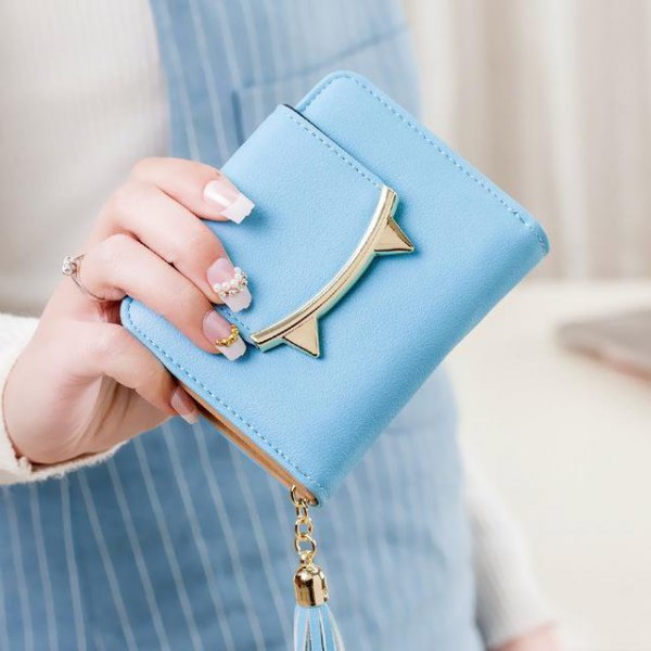 sky blue cat ear shaped mini cute purse with striped overall dress