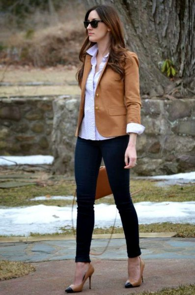 tan blazer with white button up shirt and black ankle jeans