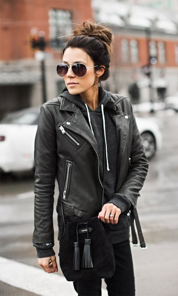 wearing moto leather jacket with hoodie