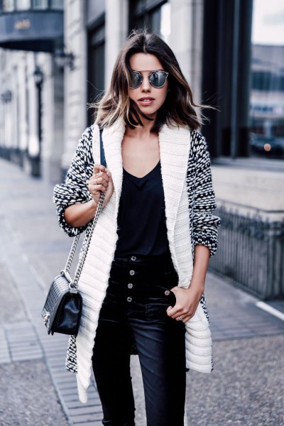 white and black printed longline sweater cardigan with velvet pants
