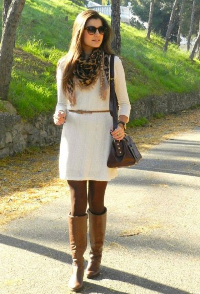 white belted dress with camel knee high leather boots