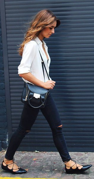 white button up shirt with ripped jeans and strappy black ballet heels