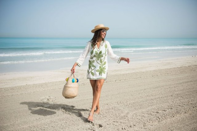 white floral printed tunic top with nude sandals