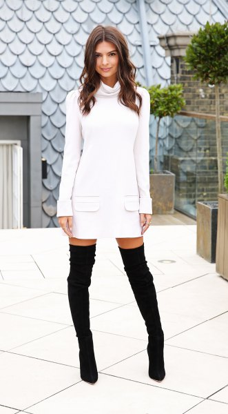 white long sleeve cowl neck sweater dress with thigh high suede boots