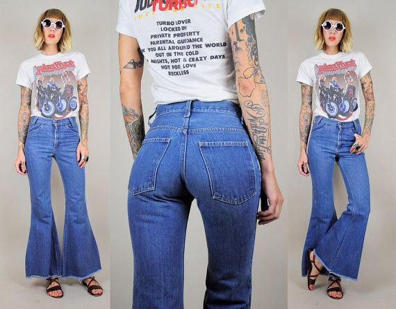 white print tee with blue high waisted bell bottom jeans