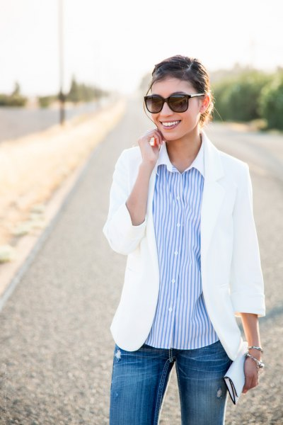 white summer relaxed fit blazer with sky blue striped button up shirt