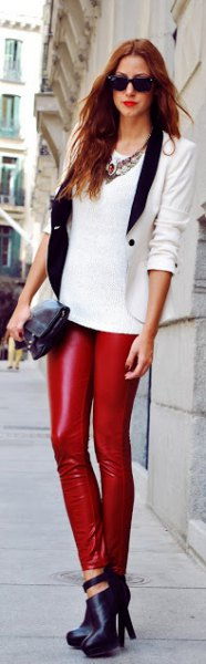 white sweater with fitted blazer and leather leggings
