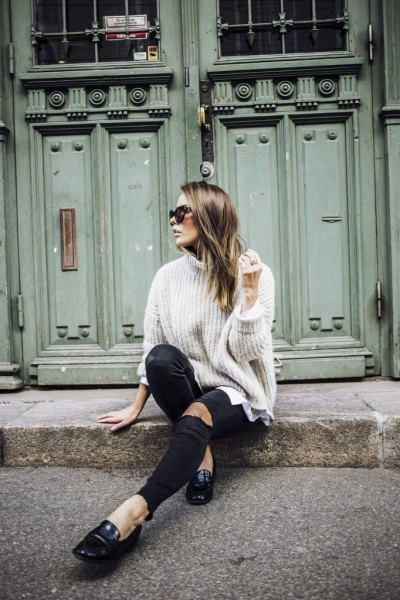 white turtleneck ribbed chunky sweater with black leather loafers