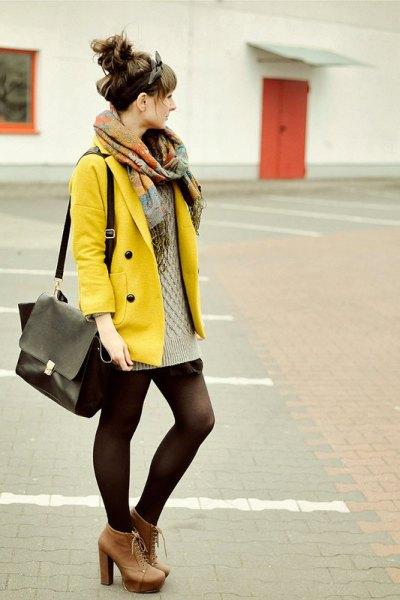 yellow jacket with blush pink cable knit mini sweater dress