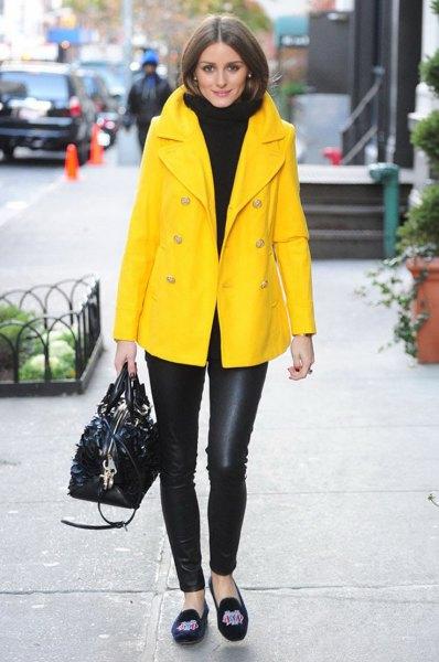 yellow oversized blazer coat with black turtleneck chunky sweater