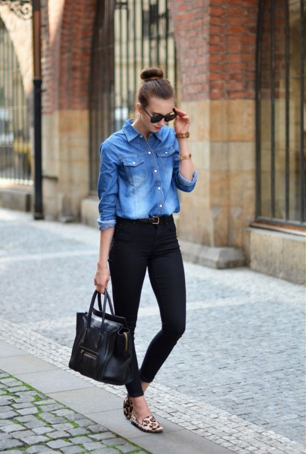 d57fb45b21 How to Wear Denim Blouse  Best 13 Stylish Outfit Ideas for Ladies ...