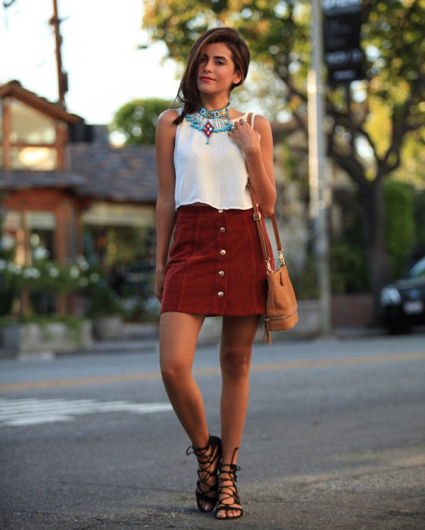 best button front skirt outfit ideas for women